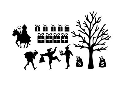 Sinterklaas herbruikbare uitbreidingsset raamstickers