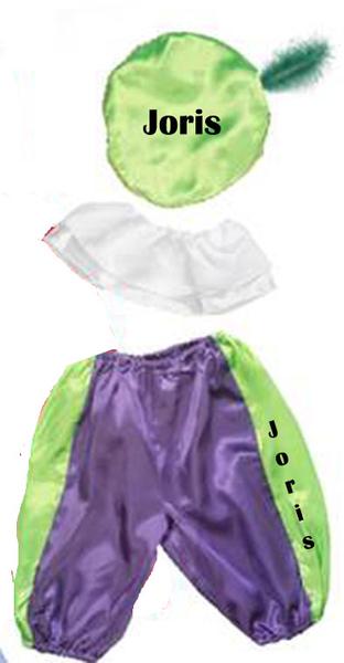 Zwarte Piet pak met naam bedrukt 2 kleuren en maten verkrijgbaar
