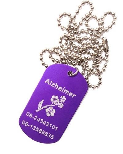 Identiteitsplaatje alzheimer of dementie gegraveerd diverse kleuren