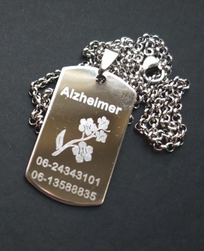 Dogtag RVS zilver gegraveerd Alzheimer/Dementie inclusief RVS ketting