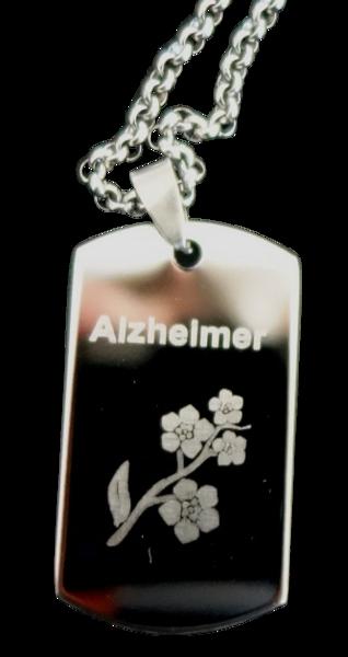 Dogtag RVS zilver gegraveerd Alzheimer/Dementie