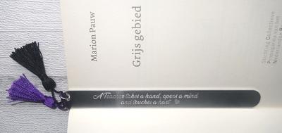Boekenlegger afscheid leerkracht gegraveerd met je eigen tekstregel