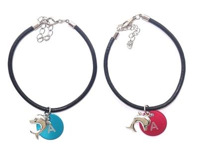 Leren armband kinderen met bedel A B of C en dolfijn