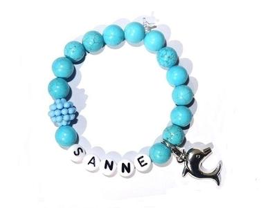 """Kindersieraden: armbandje met naam model """"Oceaan"""""""