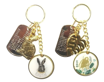 Dogtag met sleutelhanger goud konijn of aapje