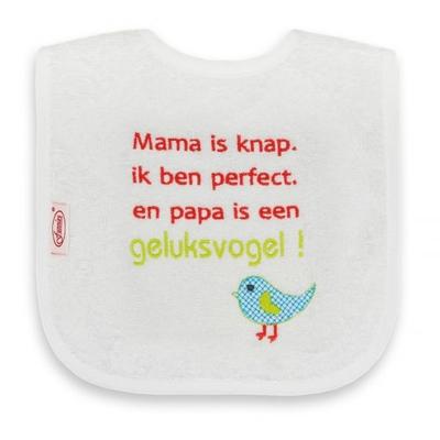 Slab Mama is knap, ik ben perfect en papa is een geluksvogel geborduurd merk Funnies