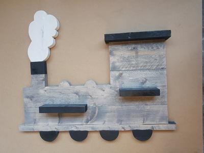 Steigerhouten wandbord trein groot