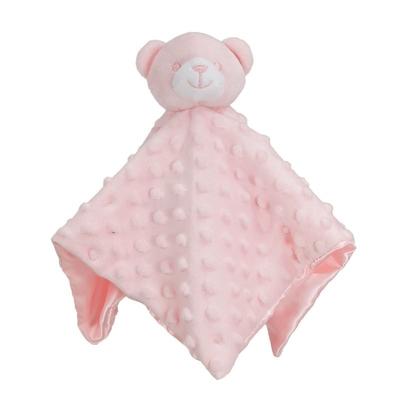 Knuffeldoek beer bedrukt binnenzijde blauw of roze
