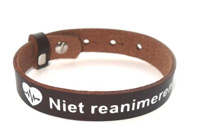 Armband niet reanimeren rundleer Volwassenen maat 18-22 / 15-19
