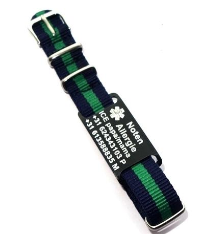 Medische armband voor kinderen/tieners op horlogeband