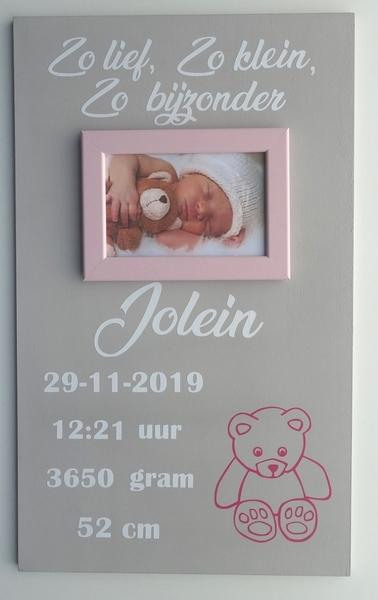 Geboortebord teddybeer 30 x 50 diverse kleuren met fotolijstje