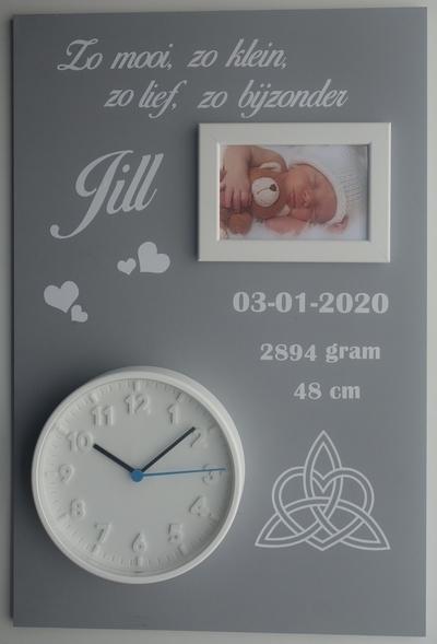Geboortebord eeuwig hart 40 x 60 ronde klok