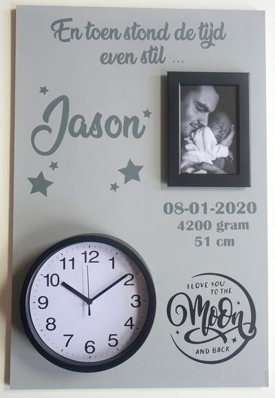 Geboortebord love you... 40 x 60 ronde klok
