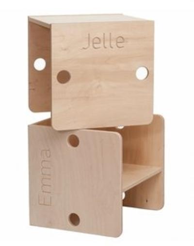 Kinderstoeltje kubus blank hout