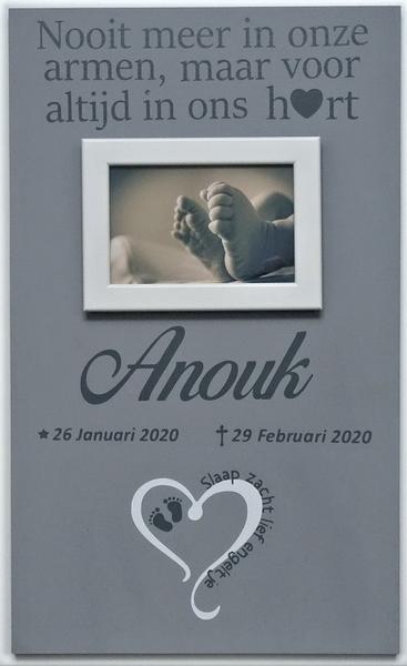 Herinneringsbord heart slaap zacht lief engeltje tekst bord 50 x 30