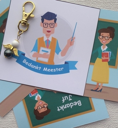 Sleutelhanger afscheid leerkracht geluksengeltje edelsteen met kaartje