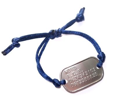 Armband SOS geponst voor kinderen verstelbaar RVS model dogtag mini