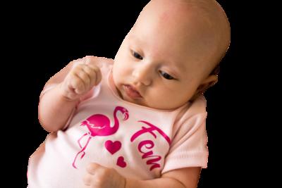 Baby t-shirt bedrukt met flamingo en naam