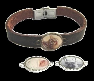 Leren armband met foto medaillon tieners/Volwassenen op maat gemaakt