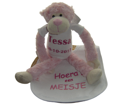 Kraampakket aap met naam en slab roze blauw in mand