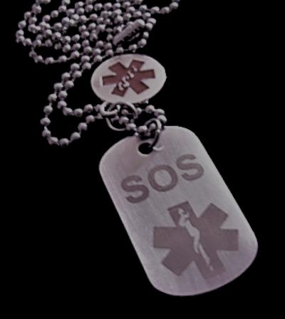 Identiteitsplaatje mini staal medisch teken SOS 2-zijde gravure