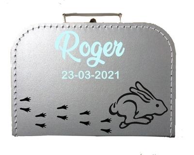 Geboortekoffertje running rabbit gepersonaliseerd diverse kleuren