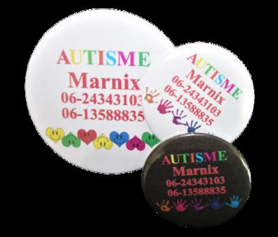 Button autisme diverse designs eigen tekst 5cm of 7,5 cm per stuk
