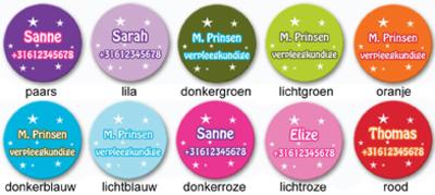 """Buttons met naam model """"stars"""", 4 stuks 3,8cm"""