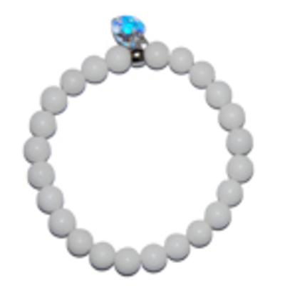 """Moeder sieraden: Jade armband wit 8mm kraal model """"tevredenheid"""""""