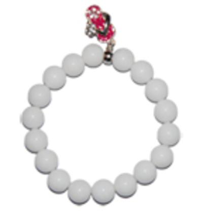 """Moeder sieraden: Jade armband wit 10mm kraal model """"tevredenheid"""""""