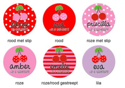 """Buttons met naam model """"kersen"""", 4 stuks 3,8cm"""