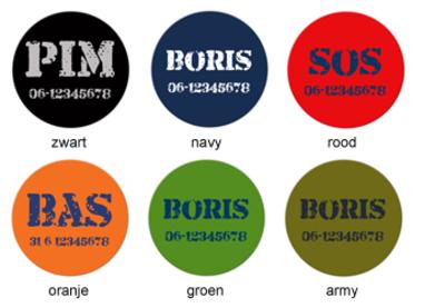 """Buttons met naam model """"stoer"""", 4 stuks 3,8cm"""