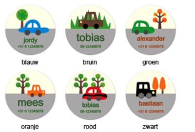 """Buttons met naam model """"auto"""", 4 stuks 3,8cm"""