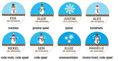 """Buttons met naam model """"winter"""", 4 stuks 3,8cm"""