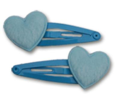 Haarspeldjes blauwe bonte hartjes 4 cm