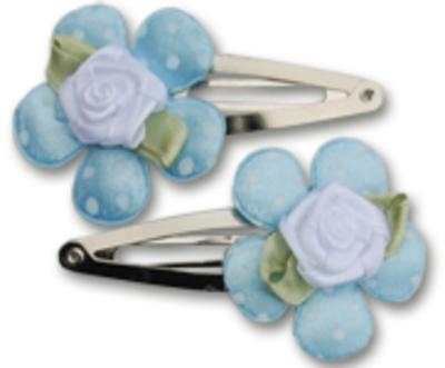 Haarspeldjes blauwe bloem met roos 5 cm