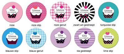 """Buttons met naam model """"cupcake"""", 4 stuks 3,8cm"""