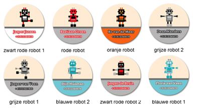 """Buttons met naam model """"robots"""", 4 stuks 3,8cm"""
