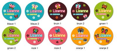 """Buttons met naam model """"vlinder"""", 4 stuks 3,8cm"""