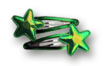 Haarspeldjes groene glanzende ster 5 cm