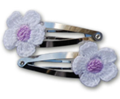 Haarspeldjes gehaakte witte bloem 4 cm
