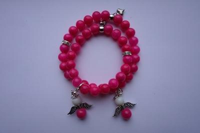 Jade armbanden set met bedel engel met of zonder naam Aanbieding